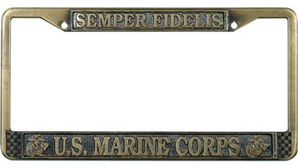 Semper Fidelis - U.S. Marine Corps - Antique Brass License Plate Frame