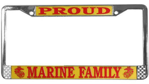 Proud Marine Family Metal License Plate Frame