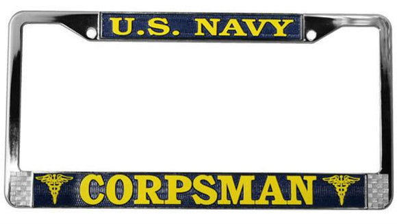 U.S. Navy Corpsman Metal License Plate Frame