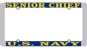 U.S. Navy Senior Chief Thin Rim License Plate Frame
