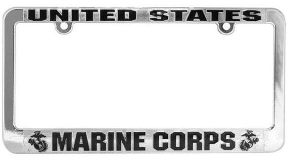 U.S. Marine Corps Metalized Plastic License Plate Frame