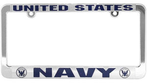 U.S. Navy Metalized Plastic License Plate Frame