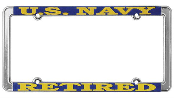 Retired U.S. Navy Thin Rim License Plate Frame