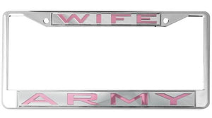 Army Wife Mirror Inlaid License Plate Frame