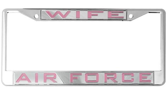 Air Force Wife Mirror Inlaid License Plate Frame