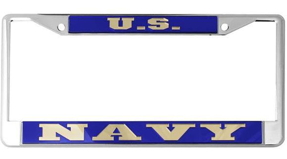 U.S. Navy Mirror Inlaid License Plate Frame