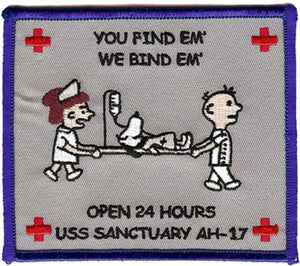 "USS SANCTUARY AH-17 ""YOU FIND EM', WE BIND EM'"" USMC Patch"