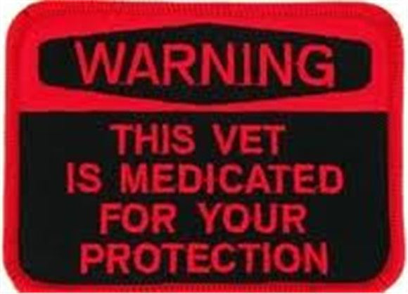 WARNING Medicated Vet Small Hat Pin