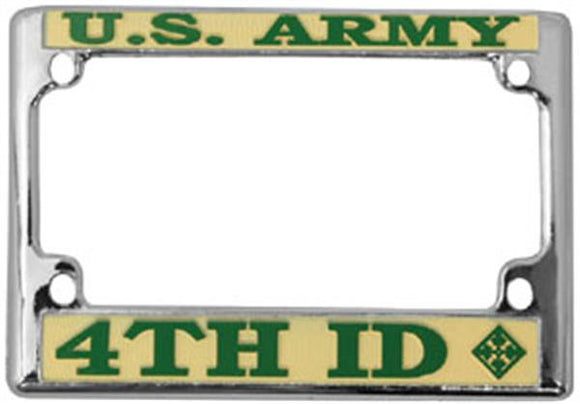 U.S. ARMY 4TH ID Motorcycle License Plate Frame - Metal