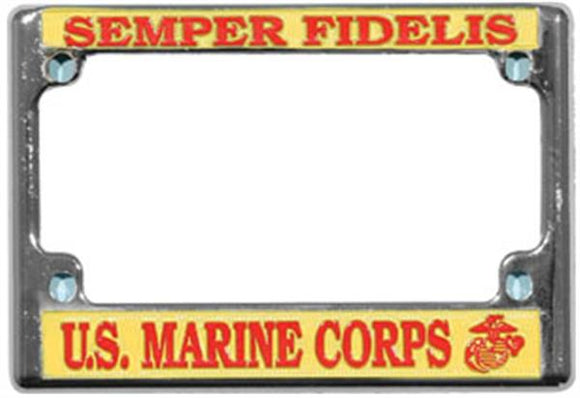 U.S. Marine Corp Motorcycle License Plate Frame - Metal