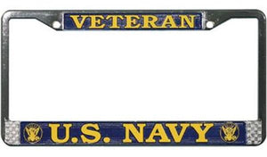 U.S. NAVY VETERAN License Plate Frame - Chrome Metal