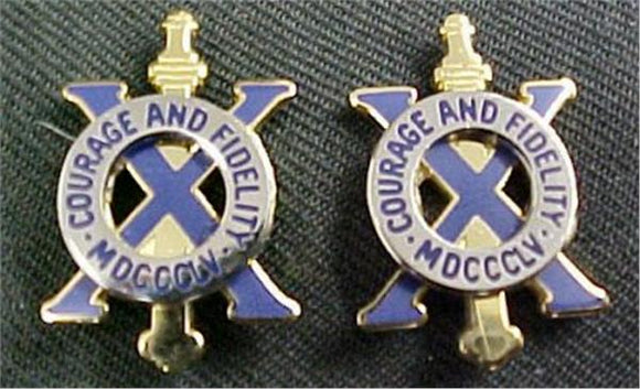 10th Infantry Distinctive Unit Insignia - Pair - COURAGE AND FIDELITY MDCCCLV