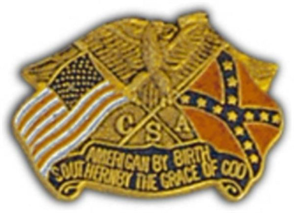 American By Birth Southern By God Small Hat Pin