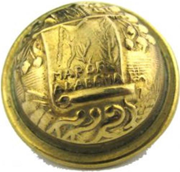 Civil War Confederate Brass Uniform Button - Alabama