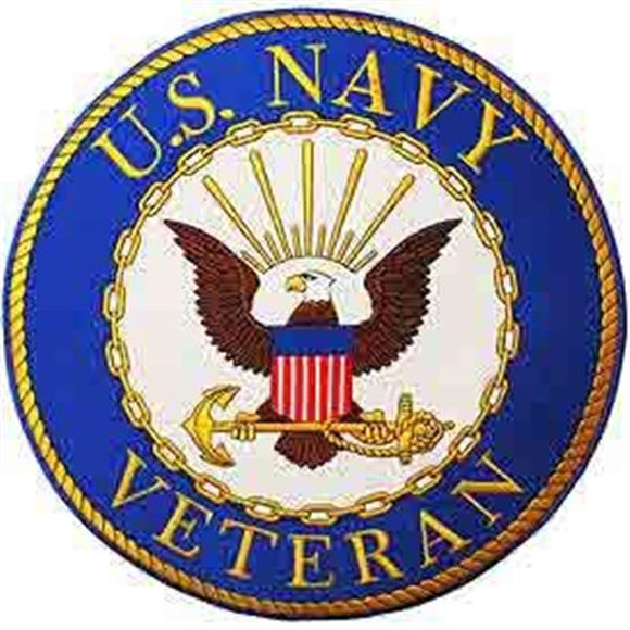 US Navy Veteran Round Logo 12 inch Patch