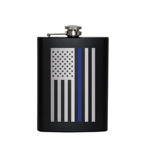 Rothco Stainless Steel Thin Blue Line Flag Flask Front