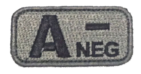 Blood Type Patches - Mil-Spec Monkey ACU DARK (A- NEGATIVE)