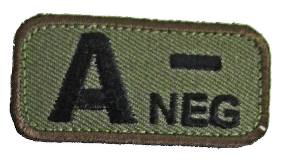 Blood Type Patches - Mil-Spec Monkey WOODLAND (A- NEGATIVE)