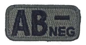 AB NEGATIVE Blood Type Patches - FOLIAGE GREEN