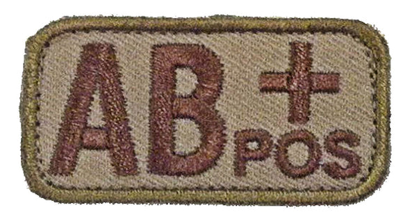 Blood Type Patches - Mil-Spec Monkey DESERT/TAN (AB+ POSITIVE)