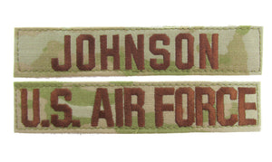U.S. Air Force 3 Color OCP Name Tape  - 2 Piece Set