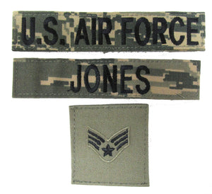 3 Piece FOLIAGE GREEN Name Tape & Rank Package - Air Force ABU