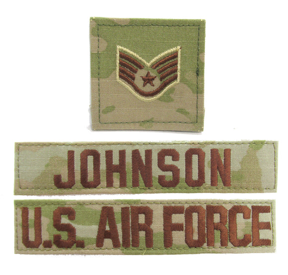 3 Piece OCP Name Tape & Rank Package - Air Force ACU