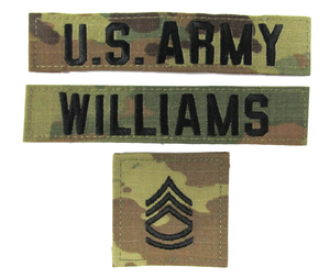 3 Piece U.S. Army OCP Name Tape & Rank Insignia