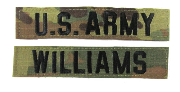 U.S. Army 3 Color OCP Name Tape  - 2 Piece Set