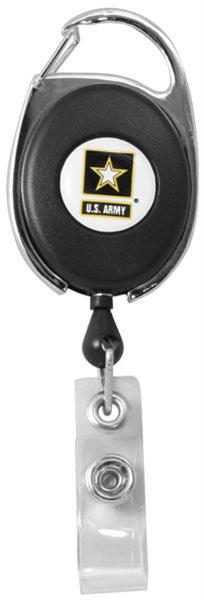 U.S. Army Star Retractable Badge Holder With Carabiner Clip