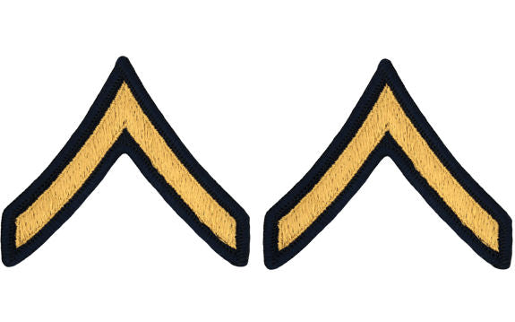 U.S. Army Gold on Blue Chevrons - Pair - All Enlisted Ranks