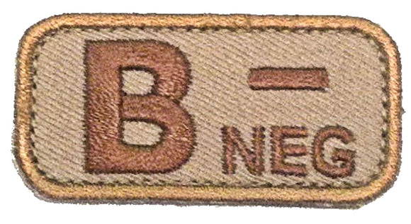 Blood Type Patches - Mil-Spec Monkey DESERT/TAN (B- NEGATIVE)