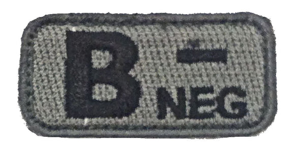 Blood Type Patches - Mil-Spec Monkey ACU DARK (B- NEGATIVE)
