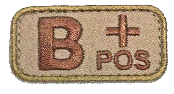 Blood Type Patches - Mil-Spec Monkey DESERT/TAN (B+ POSITIVE)
