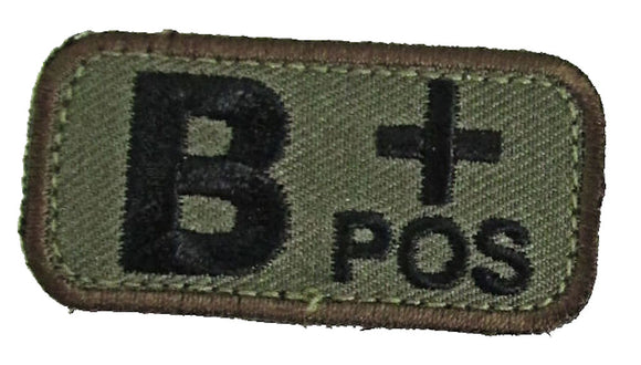 B POSITIVE Blood Type Patch - WOODLAND