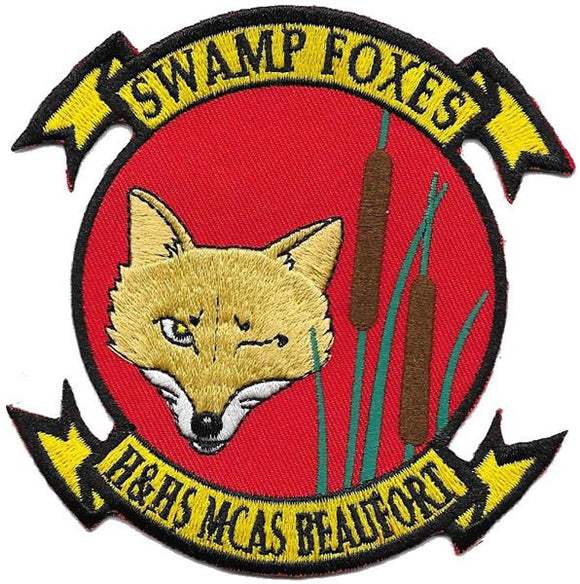 H&HS MCAS Beaufort USMC Patch - SWAMP FOXES (Winking)