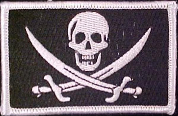 Calico Flag Patch White Black - Choose HOOK or SEW ON Style