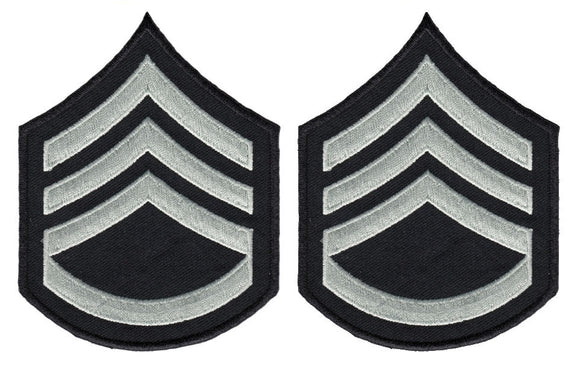 LAPD Sergeant Chevrons with Rocker - Silver/Grey/Black