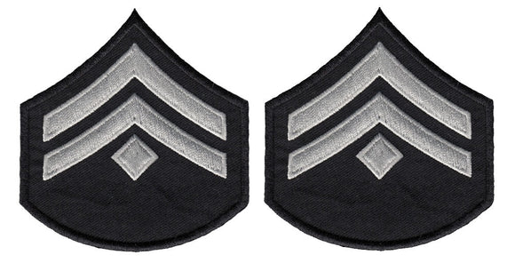 LAPD Corporal Chevrons with Diamond - Silver/Grey/Black