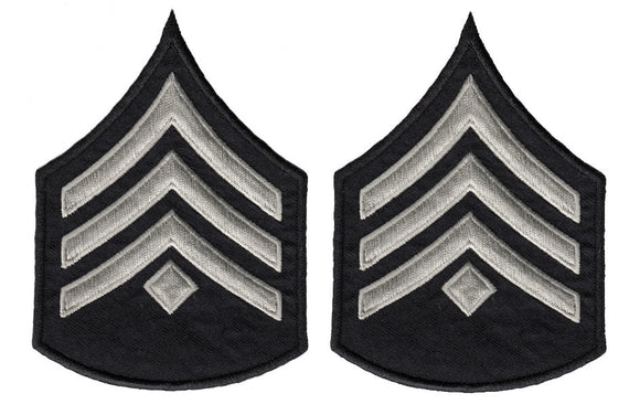 LAPD Sergeant Chevrons with Diamond - Silver/Grey/Black
