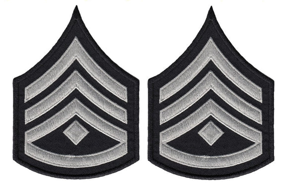 LAPD Sergeant Chevrons with Rocker and Diamond - Silver/Grey/Black