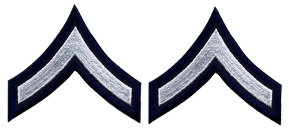 PFC Chevrons - White on Navy