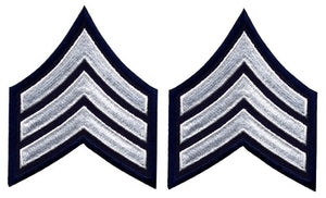 Sergeant Chevrons - White on Navy