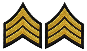 Sergeant Chevrons - Medium Gold on Black