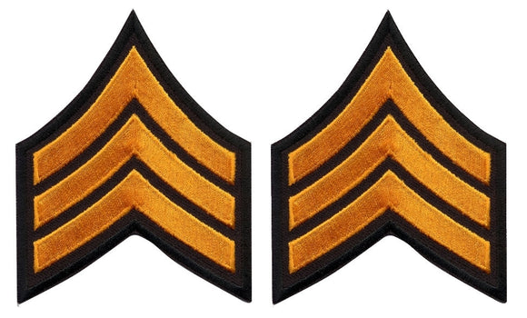 Sergeant Chevrons - Dark Gold on Black