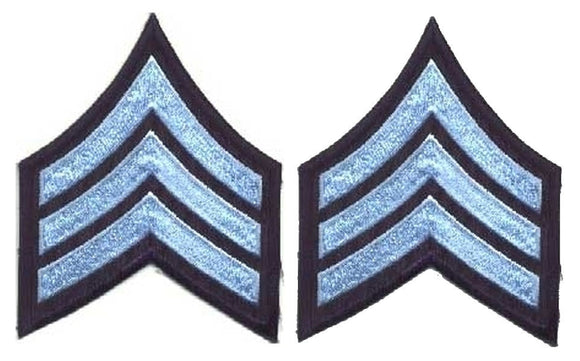 Sergeant Chevrons - Light Blue on Navy