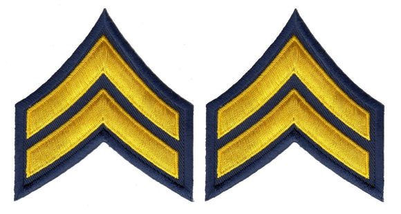 Corporal Chevrons - Medium Gold on Navy