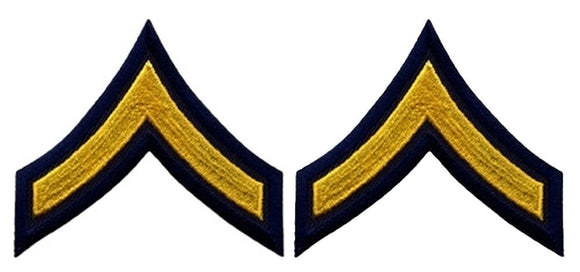 PFC Chevrons - Medium Gold on Navy