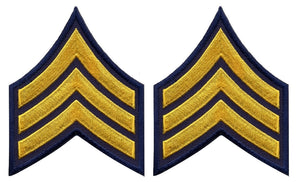 Sergeant Chevrons - Medium Gold on Navy