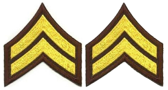 Corporal Chevrons - Medium Gold on Brown